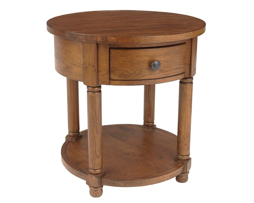 Attic Heirlooms Round End Table Broyhill - Round end table with doors