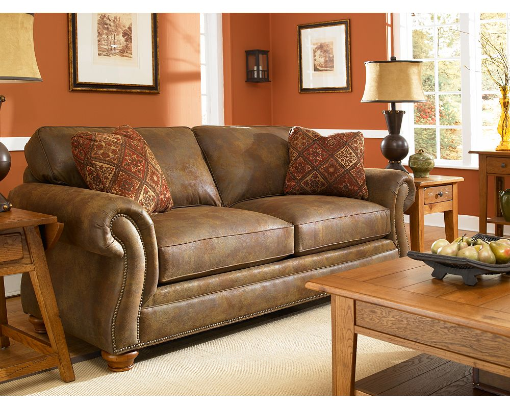 Broyhill Laramie Sofa Broyhill Laramie Brown Suede Sofa Free Shipping Today Thesofa