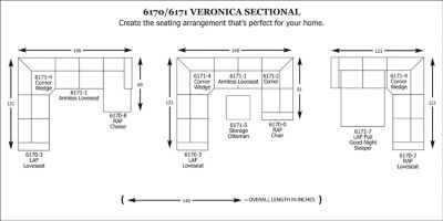 Veronica Sectional  sc 1 st  Broyhill Furniture : sectional dimensions - Sectionals, Sofas & Couches