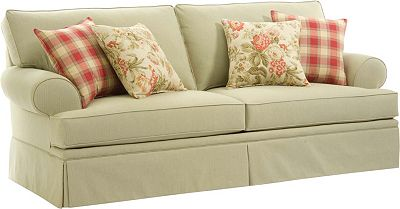One striped cottage style sleeper sofa