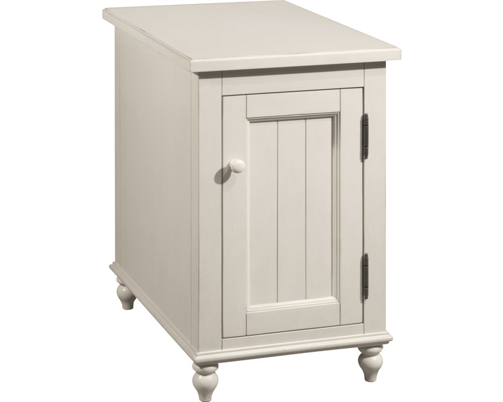 Distressed White Reclinermate Accent Table