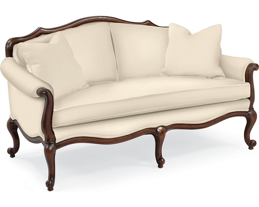Devereux settee with double welt trim living room for Furniture design photo