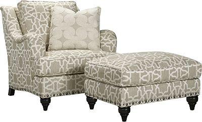 Thomasville ottoman, Langham ottoman, Living Room Furniture, living room, furniture, nail trim, ottoman, family-friendly, comfortable ottoman