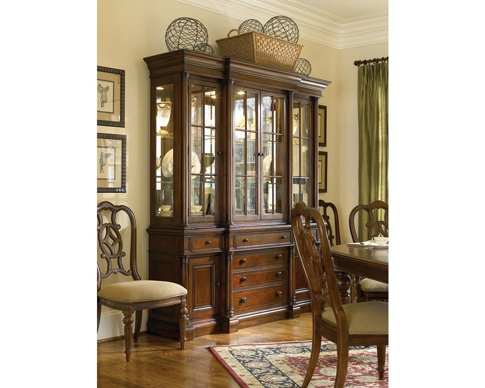Breakfront china cabinet dining room furniture for Dining room tables thomasville