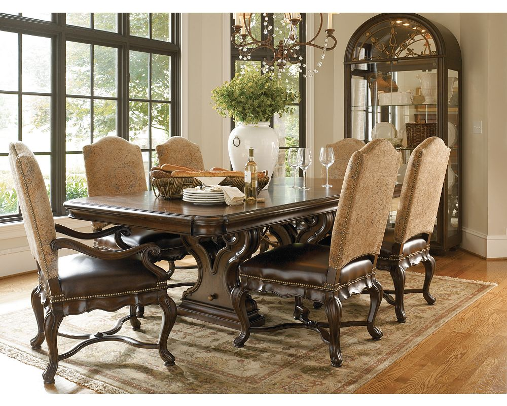 Bibbiano trestle dining table dining room furniture for Dining room tables thomasville