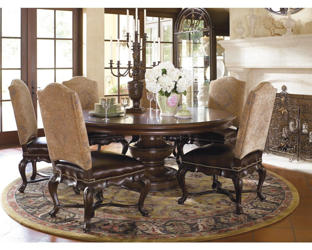 Elba round dining table thomasville furniture for Dining room tables thomasville