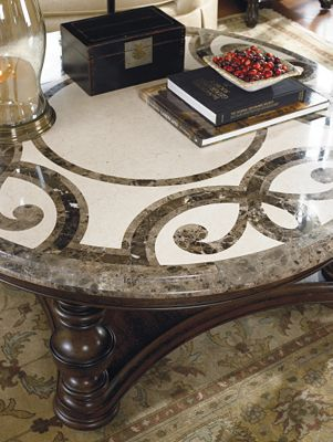 trebbiano round cocktail table (stone top) | thomasville furniture