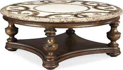 Trebbiano Round Cocktail Table Stone Top Thomasville