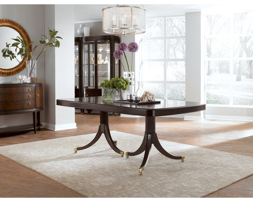 Double pedestal dining table dining room furniture for Dining room tables thomasville