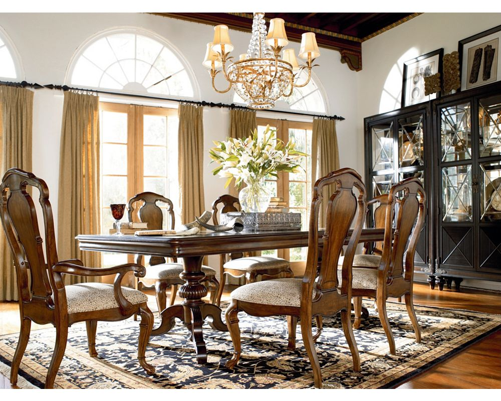 Castillian double pedestal table dining room furniture for Dining room tables thomasville