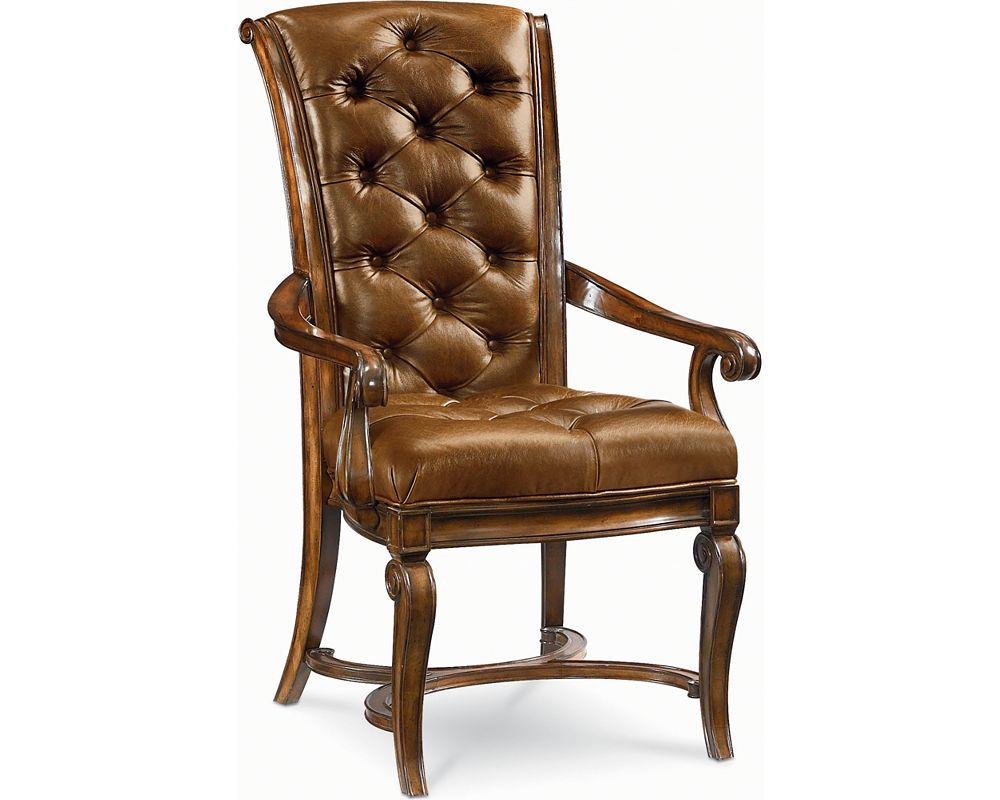 Leather arm chair dining room furniture thomasville for Leather dining chairs with arms