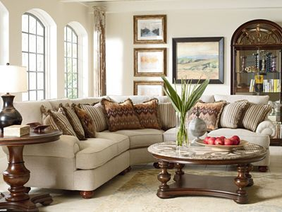 thomasville living room furniture portofino sectional arm bun foot thomasville 12629