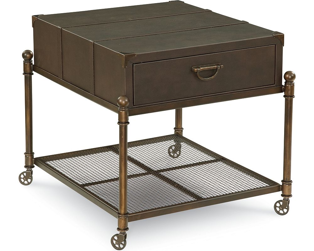 American Anthem Leather End Table