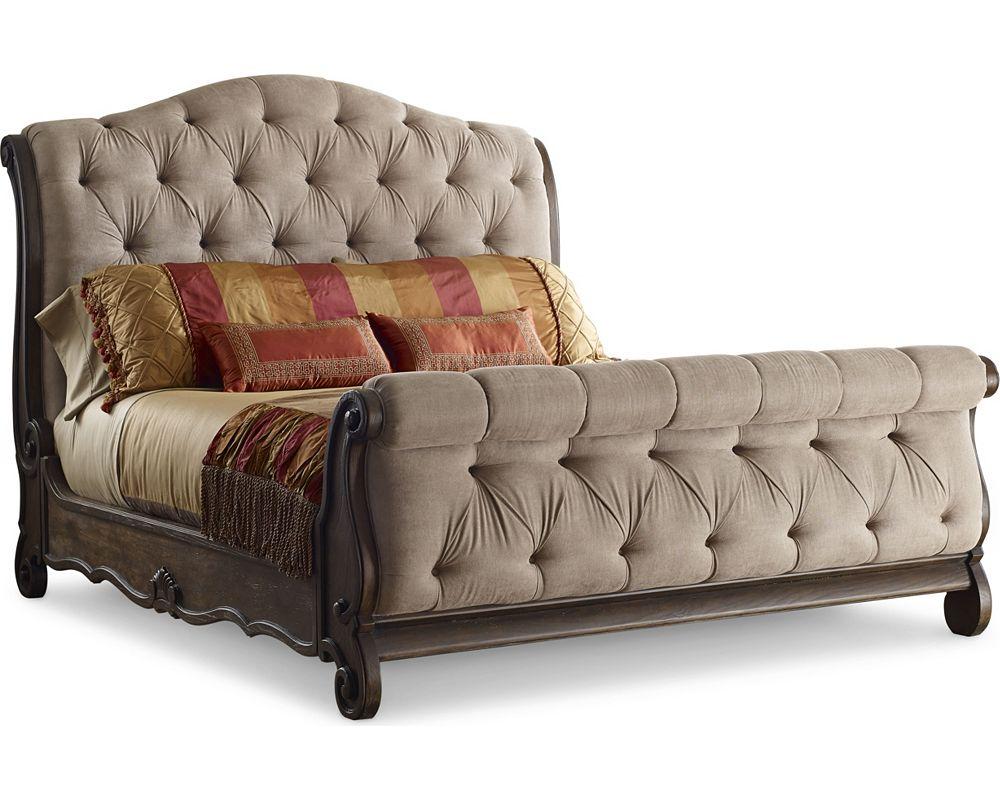 Casa veneto upholstered sleigh bed thomasville furniture for Upholstered sleigh bedroom set