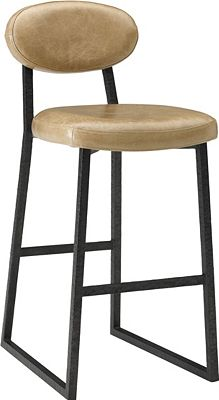 ED Ellen DeGeneres Alhambra Metal and Leather Bar Stool Crafted by Thomasville