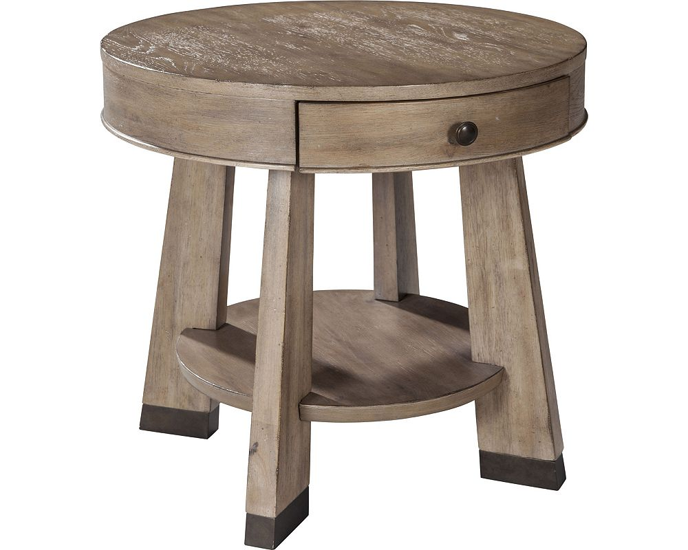 ED Ellen DeGeneres Franklin Round Drawer End Table Crafted by Thomasville