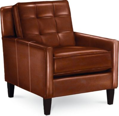highlife biscuit back chair - Brown Leather Club Chair