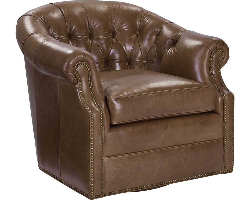 McCallan Swivel Chair (Leather) - Living Room | Thomasville ...