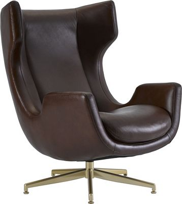 ED Ellen DeGeneres Dohney Leather Swivel Chair Crafted by Thomasville