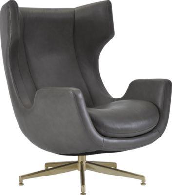 ED™ Ellen DeGeneres Dohney Swivel Chair (Gray Leather)