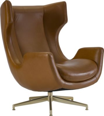 Lovely ED Ellen DeGeneres Dohney Leather Swivel Chair Crafted By Thomasville